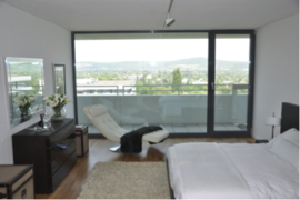 Typical bedroom with view, show apartment